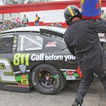 Mason Mingus's crew services the car during a pit stop Saturday at Mobile Int'l Speedway. (ARCA Racing Series Photo)