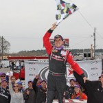 Grant Enfinger celebrates his first ARCA Racing Series victory in 2013 at Mobile Int'l Speedway in Irvington, Ala. He's chasing a record fourth straight win to open the season on Saturday. (ARCA Racing Series Photo)