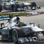 Lewis Hamilton leads his Mercedes teammate Nico Rosberg during Sunday's Malaysian Grand Prix. (Steve Etherington Photo)