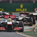 Sergio Perez leads a pack of cars during Sunday's Formula One Australian Grand Prix at Albert Park in Melbourne, Australia. (Steve Etherington Photo)