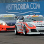 Kevin Gleason (19) leads a pack of cars during the 2013 Pirelli World Challenge event in St. Petersburg, Fla. (Joe Secka/JMS Pro Photo)