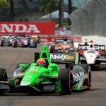 James Hinchcliffe (27) leads the IZOD IndyCar Series field during Sunday's Honda Grand Prix of St. Petersburg. (Joe Secka/JMS Pro Photo)
