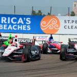 Helio Castroneves (3) and Will Power (12) lead the IZOD IndyCar Series field through a corner during Sunday's Honda Grand Prix of St. Petersburg. (Joe Secka/JMS Pro Photo)