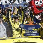 Matt Kenseth celebrates in victory lane after winning Sunday's NASCAR Sprint Cup Series Kobalt Tools 400 at Las Vegas Motor Speedway. (Harold Hinson Photography Photo)