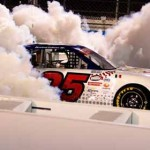 Abraham Calderon celebrates with an epic burnout after winning Friday's NASCAR Toyota Mexico Series opener at Phoenix Int'l Raceway. (NASCAR Photo)