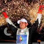 Abraham Calderon celebrates in victory lane after winning Friday's NASCAR Toyota Mexico Series race at Phoenix Int'l Raceway. (NASCAR Photo)