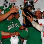 Abraham Calderon celebrates with his crew after winning the first NASCAR Toyota Mexico Series race ever held in the United States Friday at Phoenix Int'l Raceway. (NASCAR Photo)