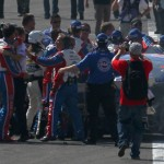 Joey Logano scuffles with Tony Stewart after Sunday's NASCAR Sprint Cup Series Auto Club 400 at Auto Club Speedway in Fontana, Calif. (NASCAR Photo)