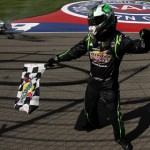 Kyle Busch celebrates after winning Auto Club Speedway in Fontana, Calif., two weeks ago. (NASCAR Photo)