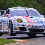 The No. 59 Brumos Porsche catches some air during Saturday's Grand-Am Rolex Sports Car Series race at Road Atlanta. (Grand-Am Photo)