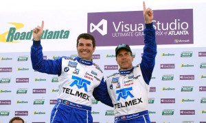 Scott Pruett (right) and Memo Rojas celebrate after winning a Grand-Am race at Road Atlanta in 2013. Pruett will attempt to win his sixth Rolex 24 in 2014. (Grand-Am Photo)