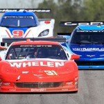 The Marsh Racing No. 31 Corvette leads a pair of Daytona Prototypes Saturday afternoon at Barber Motorsports Park in Leeds, Ala. (Grand-Am Photo)