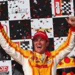 Ryan Hunter-Reay celebrates his IZOD IndyCar Series victory at Barber Motorsports Park in Alabama on Sunday. (IndyCar Photo)