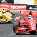 Dario Franchitti (10) sat on the pole for Sunday's Toyota Grand Prix of Long Beach and finished third. (Al Steinberg Photo)