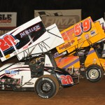 The UNOH All Star Circuit of Champions go four-wide prior to the start of feature racing Friday at Williams Grove Speedway. (Julia Johnson Photo)