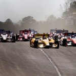 Ryan Hunter-Reay leads the IZOD IndyCar Series field at the start of Sunday's race at Barber Motorsports Park in Leeds, Ala. (IndyCar Photo)