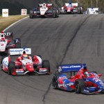 Marco Andretti (26) leads a pack of cars Sunday at Barber Motorsports Park. (IndyCar Photo)