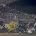 A huge crowd salutes the World of Outlaws STP Sprint Car Series field as it makes a parade lap at California's Antioch Speedway. (Tom Parker photo)