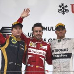 Fernando Alonso (center), Kimi Raikkonen (left) and Lewis Hamilton made up the Chinese Grand Prix podium on Sunday. (Steve Etherington Photo)