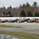 The American-Canadian Tour field prepares for the start of Sunday's feature at Lee (N.H.) USA Speedway. (Leif Tillotson Photo)