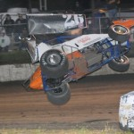 Billy Aton takes a wild ride during Friday's World of Outlaws STP Sprint Car Series program at Antioch Speedway. (Tom Parker photo)