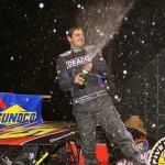 Stewart Friesen celebrates winning the Race of Champions modified feature at New York's Five Mile Point Speedway in April. Friesen will enter the World of Outlaws Late Model Series event at New York's Fonda Speedway on June 19. (Dave Dalesandro photo)