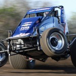 Bryan Clauson pops a wheelie during qualifying for Friday's AMSOIL USAC National Sprint Car Series feature at Gas City (Ind.) I-69 Speedway. (Gordon Gill Photo)