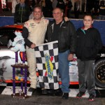 Preston Peltier celebrates in victory lane after winning the Easter Bunny 150 Saturday at Hickory Motor Speedway. (LWpictures.com Photo)
