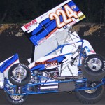 John Carney II goes up on two wheels during Friday's Lucas Oil American Sprint Car Series race at Golden Triangle Raceway Park. (RonSkinnerPhotos.com Photo)