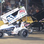 Jason Johnson (41) and Channin Tankersley battle during Friday's Lucas Oil American Sprint Car Series race at Golden Triangle Raceway Park in Texas. (RonSkinnerPhotos.com Photo)