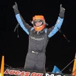 Brad Loyet celebrates after winning Friday's Lucas Oil American Sprint Car Series race at Golden Triangle Raceway Park. (RonSkinnerPhotos.com Photo)