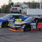 Reid Wilson (66) and J.P. Morgan battle early during Saturday's CARS X-1R Pro Cup Series race at Hickory (N.C.) Motor Speedway. (Adam Fenwick/AKFPhotos.com Photo)