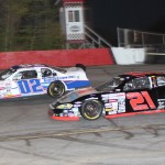 Tyler Young (02) and Eric Gerchak battle Saturday at Hickory (N.C.) Motor Speedway during CARS X-1R Pro Cup Series action. (Adam Fenwick/AKFPhotos.com Photo)