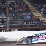 Kevin Sitton crosses the finish line to win the SUPR Late Model Series event at Battleground Speedway on Saturday night. (RonSkinnerPhotos.com Photo)