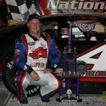 Jay Fogleman stands in victory lane after winning Saturday's PASS South event at Southern National Motorsports Park in Kenly, N.C. (Laura Ward/LWpictures.com Photo)