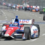 Takuma Sato leads the IZOD IndyCar Series field during Sunday's Toyota Grand Prix of Long Beach in California. (IndyCar Photo)