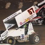 Kyle Larson (57) battles Jason Meyers at Antioch (Calif.) Speedway. (Tom Parker photo)