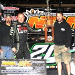 Jimmy Owens, shown here in NDRL victory lane at Federated Auto Parts Raceway at I-55, will not be allowed to appeal his disqualification from his victory there in April. (Don Figler photo)