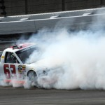 Justin Jennings spins during the NASCAR Camping World Truck Series SFP 250 at Kansas Speedway. (Don Figler Photo)