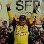 Matt Crafton celebrates his victory in the NASCAR Camping World Truck Series SFP 250 at Kansas Speedway. (Don Figler Photo)