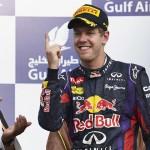 Sebastian Vettel celebrates after winning Sunday's Bahrain Grand Prix. (Steve Etherington Photo)
