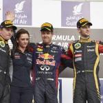 Sebastian Vettel (center) was joined on the Bahrain Grand Prix podium by Kimi Räikkönen (left) and Romain Grosjean. (Steve Etherington Photo)
