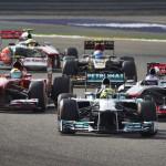 Nico Rosberg leads the field early during Sunday's Formula One Bahrain Grand Prix. (Steve Etherington Photo)