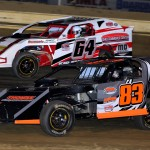 Jeremy Double (83) and Jacob Euker finished 1-2 respectively in the Econo-Mod division Saturday at Sharon Speedway. (Joe Secka/JMS Pro Photo)
