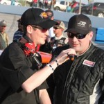 Defending X-1R Pro Cup Series champion J.P. Morgan gets interviewed prior to Saturday's season opener at Dillon (S.C.) Motor Speedway. (Lou Lauer/ProCupPhotos.com Photo)