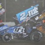 Dale Blaney (2) battles with several other cars during Saturday's UNOH All Star Circuit of Champions sprint-car event at Attica (Ohio) Raceway Park. (Action Photo)