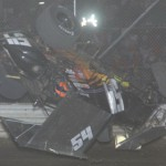 Cap Henry tumbles in his No. 54 sprint-car during Saturday's UNOH All Star Circuit of Champions event at Attica (Ohio) Raceway Park. He was unhurt in the crash. (Action Photo)