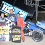 Dale Blaney (center), Sheldon Haudenschild (left) and Randy Hannagan were the podium finishers in Saturday's UNOH All Star Circuit of Champions event at Attica (Ohio) Raceway Park. (Action Photo)