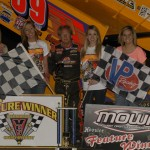 Jac Haudenschild stands in victory lane after winning Sunday's Midwest Open Wheel Ass'n event at Vermilion County Speedway in Illinois. (Mark Funderburk Photo)