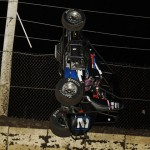 Seth Motsinger goes for a wild ride during Friday's Lucas Oil POWRi National Midget Series event at Jacksonville (Ill.) Speedway. (Mark Funderburk Photo)